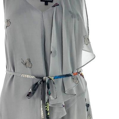 unbalance chiffon dress gray